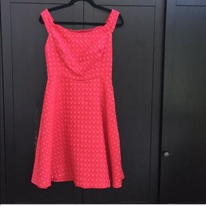 Anthropologie Jacquard Red A-Line Dress